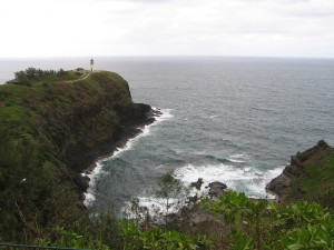 Long view of Kilauea Lighthouse and bay, Kauai Hawaii