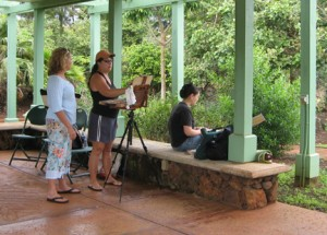 Plein air painting demo at the National Tropical Botanical Gardens