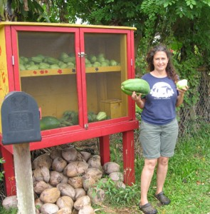 Felicia Cowden with her garden stand